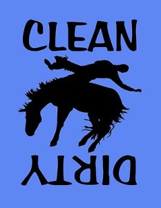 METAL DISHWASHER MAGNET Cowboy Horse Western Blue Background Clean Dirty Dishes