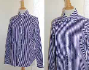 NWT Ralph Lauren -Sz 12 lila & Weiß Pleated Bib Elegant Cotton Shirt Top