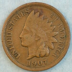 1907-Indian-Head-Cent-Penny-Liberty-Very-Nice-Vintage-Old-Coin-Fast-S-amp-H-34001