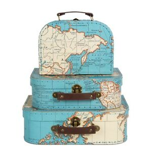 VINTAGE-MAP-STORAGE-SUITCASES-3-SIZES-OR-SET-OF-3
