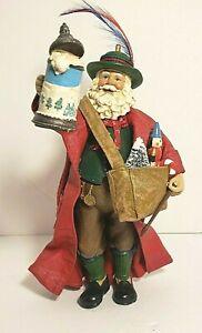 Vintage Kurt Adler Bavarian Santa Fabriche Material 7 1/4 Inches Tall