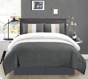 Grey King Size Bedding Sets.Details About Dark Grey Light Grey White Pin Tuck Regatta Down Alt Comforter Set Cal King Size