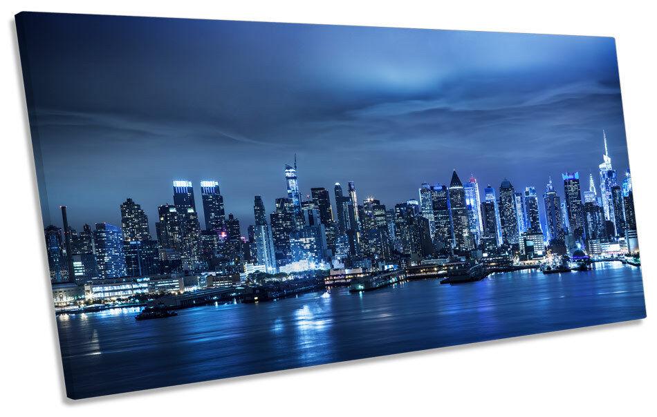 New York Stadt Skyline Blau PANORAMIC BOX FRAME CANVAS Kunst Bild