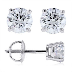 Diamant-Brillant-Ohrstecker-0-90-Karat-585-14K-Gold-F-G-SI2-SI1-oder-VS2