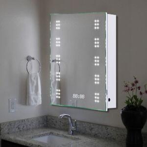 Image Is Loading Electric Led Illuminated Bathroom Mirror Cabinet Sensor Socket