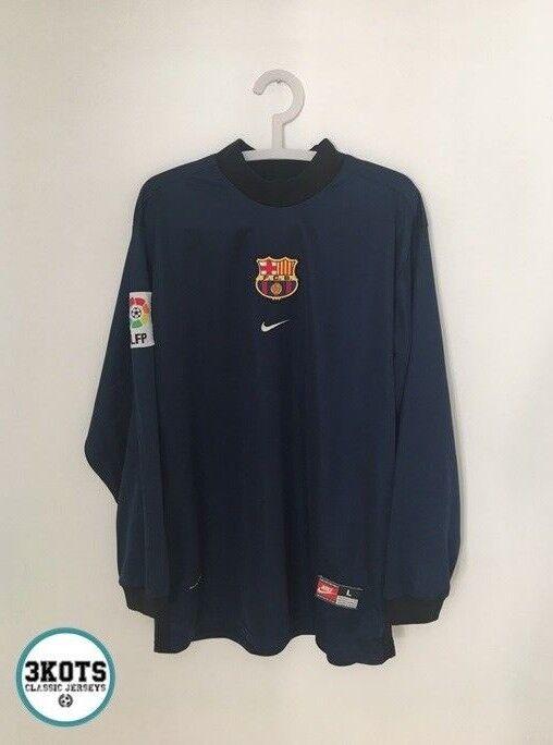 819d2e37a BARCELONA FC 1998 99 Goalkeeper Football Shirt (L) Soccer Jersey NIKE  Vintage GK