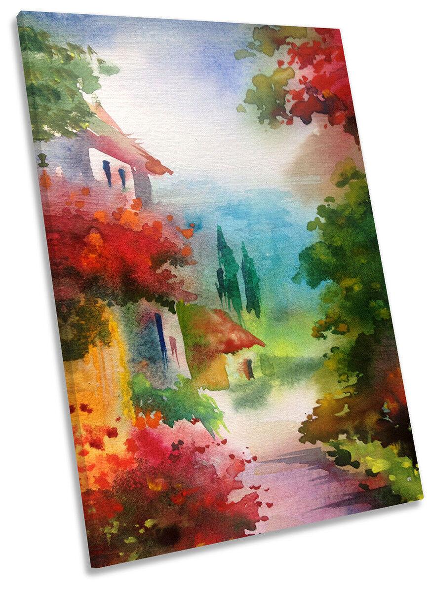 Floral Village Countryside CANVAS Wand KunstWORK Portrait Drucken Kunst