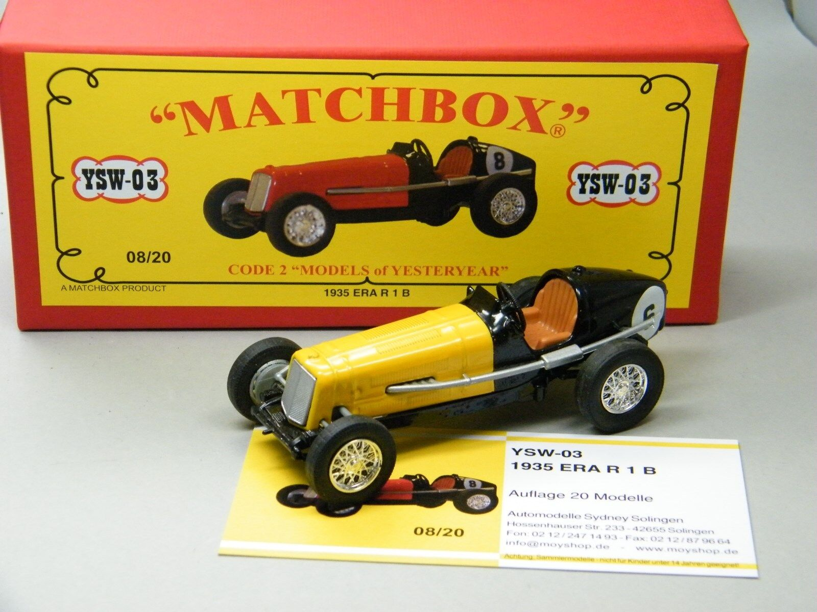Matchbox MoY Code 2 YSW-03 ERA R1B Rennwagen yellow black rede Box 1 von 6 OVP
