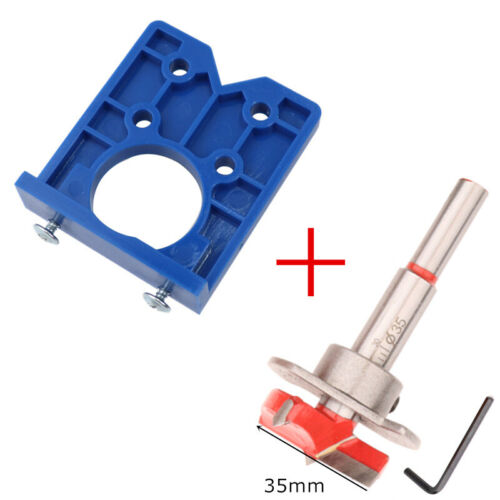 35mm Cabinet Hinge Jig Drilling Wood Hole Saw Drill Locator Guide Tools Set