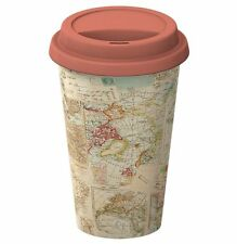 WORLD MAP Atlas STAMPS Ceramic TRAVEL MUG Double Walled & Lid ECO CUP