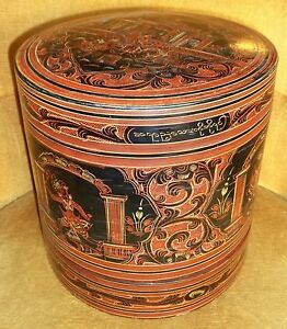 Antique-Oriental-Burmese-Lacquer-Betel-Box-Boite-Ancienne-Bois-Laque-Birmanie