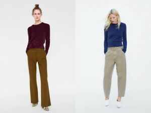 New-ZARA-blue-camel-short-soft-touch-knit-sweater-round-neck-long-sleeves-ribbed