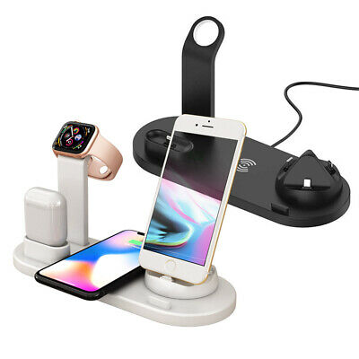 6in1 Qi Wireless Charger Dock Stand For Apple Watch 1234 AirPod iPhone 8 XS | eBay