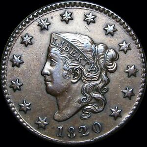 1820-Small-Date-Coronet-Head-Large-Cent-NICE-Type-Coin-L-K-D060