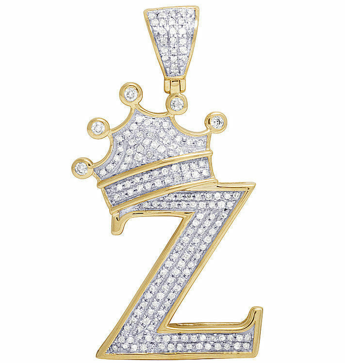 Men's 10K Yellow gold Over Round Diamond Crown Initial Letter  D  Pendant Charm