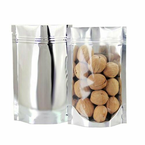 50 100 Zip lock Grip Seal Bags Stand Up Pouch Clear Front Silver Food Packaging