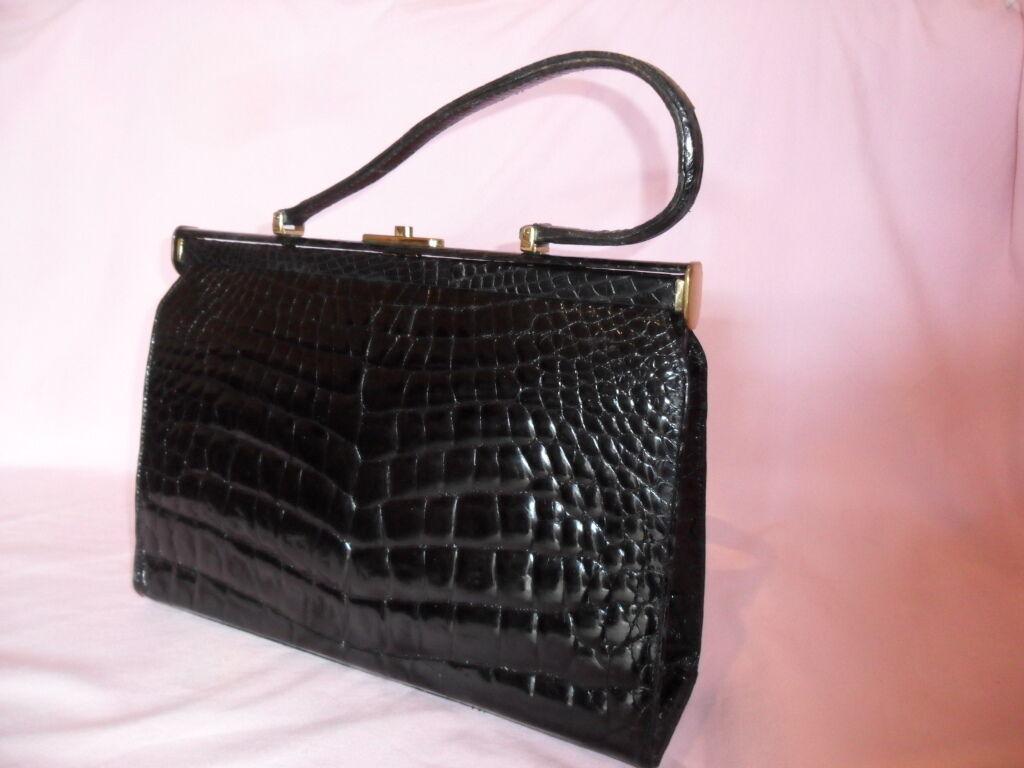 Damen Handtasche echtes Leder Kroko Kroko Kroko Leder ca.1950  schwarz Vintage top   Online Kaufen    Kostengünstiger    Gutes Design    Spielzeugwelt, spielen Sie Ihre eigene Welt  a17f28