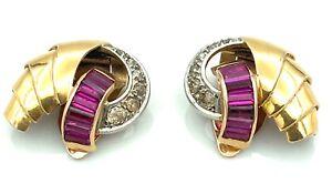 """BOUCLES D'OREILLES """"TANK"""" OR 18 CARATS - Rubis et diamants 0,40 carat - 8,04 g"""