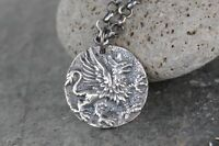 Griffin Necklace- Ancient Greek Style Coin, Sterling Silver Rolo Chain- Strength
