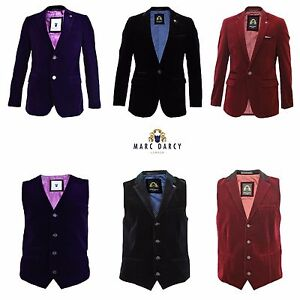 bce4c437c716 Image is loading Mens-Marc-Darcy-Velvet-Blazer-Waistcoat-Formal-Smart-
