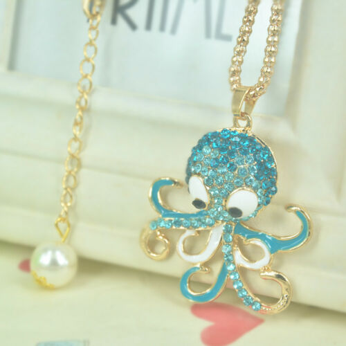XL B Octopus Bead Gold Long Necklace Women Pendant Chain Rhinestone Crystal Gift