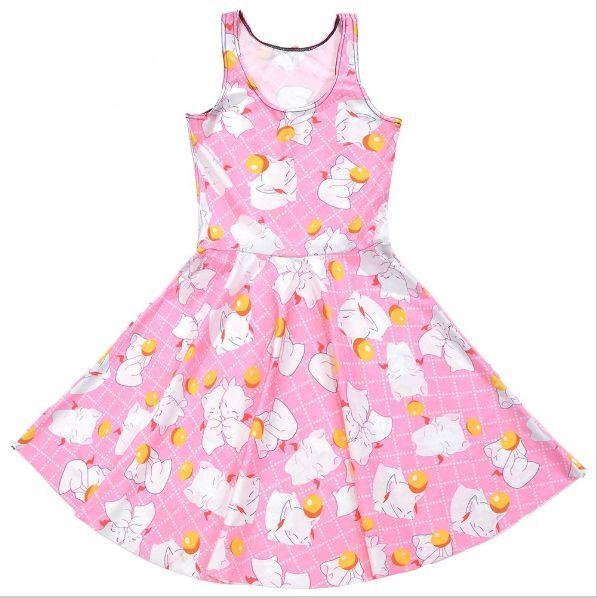 Final Fantasy Moogle Delivery Mog Kawaii Cute FFXIV MMORPG Pink Skater Dress