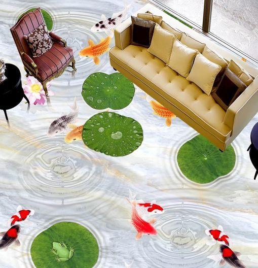 3D Poisson 1 Fond d'écran étage Peint en Autocollant Murale Plafond Chambre Art