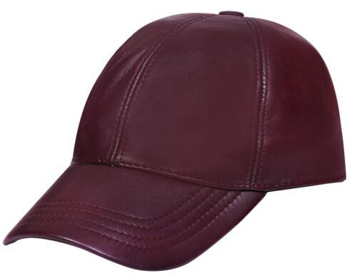Uomo Donna Vero Nappa Burgundy Zaino Regolabile Tinta Unita Cappello Baseball