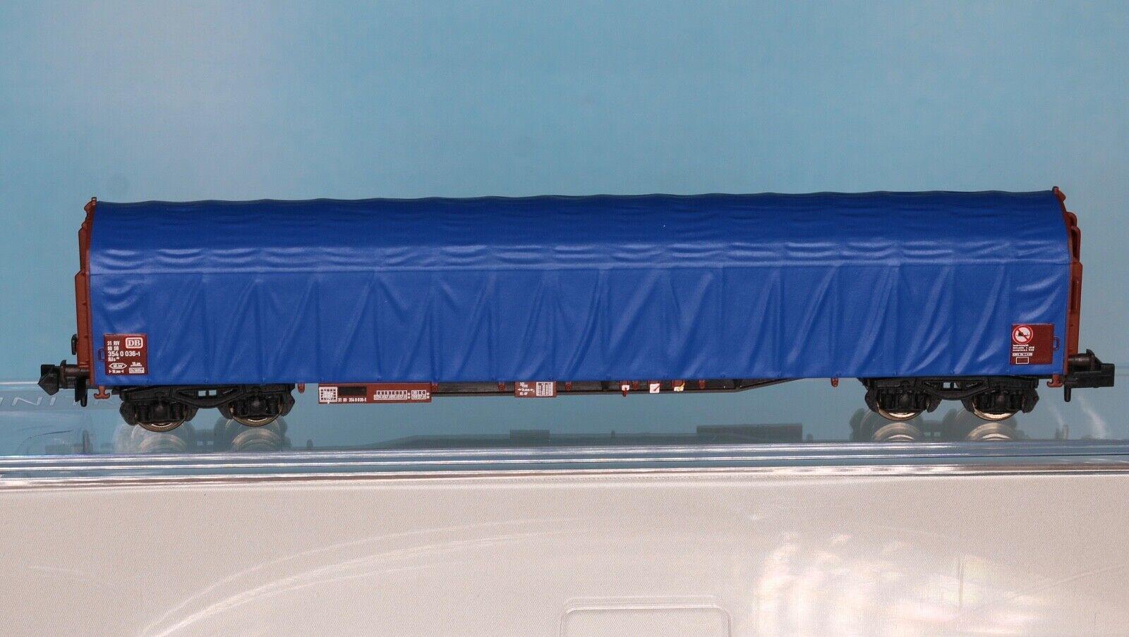 Minitrix 15869-03, Traccia N, dB piano scorrevoli carrello tipo Rils 652, blu, epoca 4-5