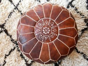 FREE SHIPPING HAND-STITCHED MOROCCAN POUF (unstuffed) RED BROWN DARK TAN OTTOMAN