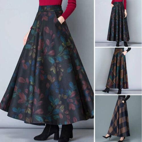 Women Autumn//Winter Retro Printed High Waist Loose Skirt Large Swing Pleated