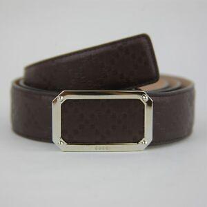 f28c0bd7c7418 Gucci Men s Dark Brown Diamante Leather Belt w Rectangular Buckle ...