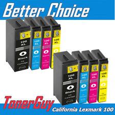 8 Pk 100XL 100 XL Black & Color Ink Cartridge for Lexmark Prevail Pro705 Pro706