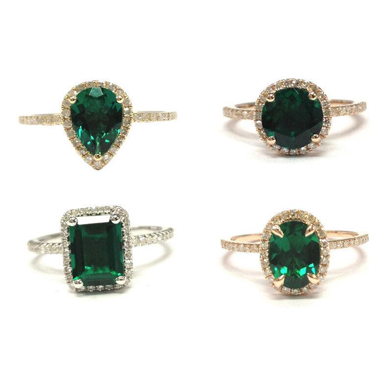 Halo Ring Emerald Oval Pear Round Cut Emerald Solid 14K gold Wedding Bridal Ring