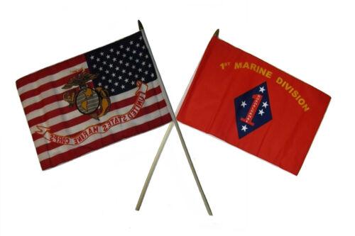 "12x18 12/""x18/"" Wholesale Combo EGA USA /& 1st USMC Marine Division Stick Flag"