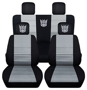Front And Rear Black And Silver Decepticon Seat Covers