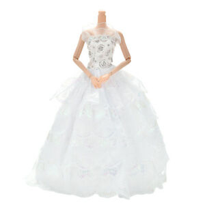 Funny-1-Pc-4-Layers-White-Handmade-Lace-Wedding-Dress-for-11-034-s-Dolls-LJ