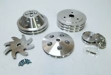 Small Block Chevy 2 3 Groove Aluminum Pulley Kit For Short Pump 283 305 350