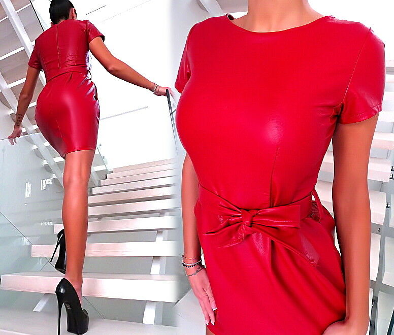 DAMEN KLEID LEDER OPTIK red MADE IN ITALY U12 TOP LEATHER LOOK SEXY RED DRESS L