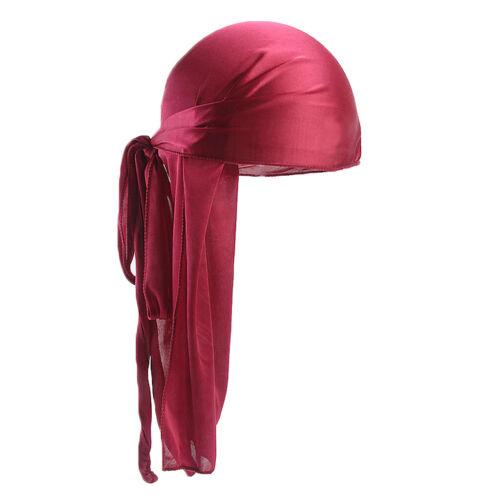 Durag Headwear Headband Pirate Cap Lady Men Hat Smooth Silk Cap Bright Solid