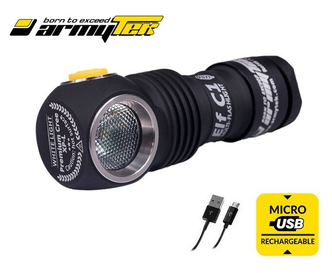 New Armytek Elf C1 USB Cree XP-L 980 Lm LED Headlight Flashlight ( No battery )