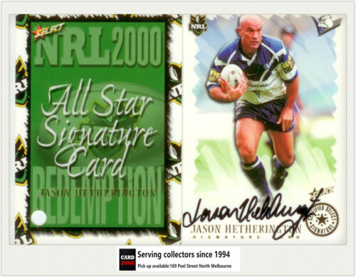 2000 Select NRL All Stars Signature Card SC2JASON HETHERINGTONBulldogs