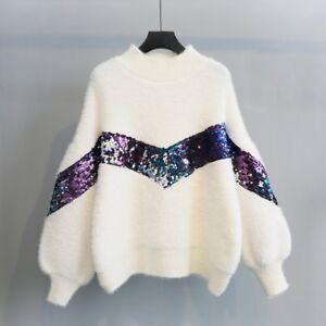 Women-Sequins-Loose-Mohair-Sweater-Knitwear-Fluffy-Knitted-Pullover-Jumper-Vogue