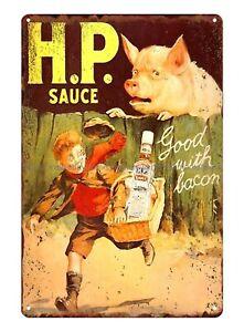 Hp Sauce Good With Bacon Metal Advertising Wall Sign Retro Art 1141 P Metal Tin Ebay