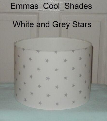 White Grey Star Lampshade 20 30 CM Handmade Stars Fabric Nursery Baby Child Ligh
