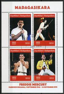 Madagascar-2019-CTO-Freddie-Mercury-Queen-4-V-M-S-Personnes-celebres-musique-timbres