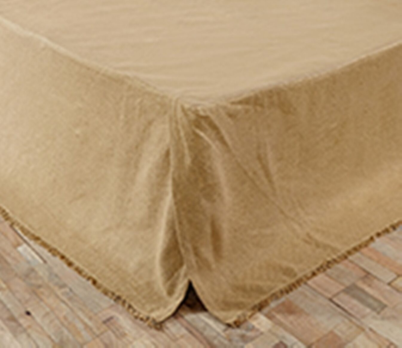 BURLAP NATURAL FRINGED QUEEN BED SKIRT TAYLORED FRINGED HEM 16  DROP SOFT COTTON
