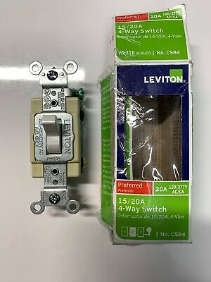 Leviton White 4-WAY COMMERCIAL Framed Toggle Wall Light Switch 15A Bulk 54504-2W