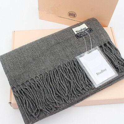 Elegant Acne Pure Color Pashmina Virgin Wool Cashmere Scarf Shawl Unisex