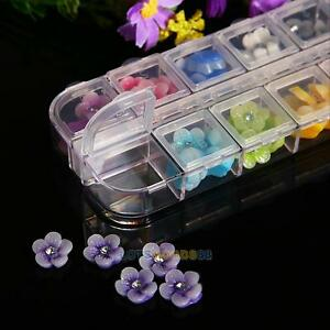 New-12-Colors-60Pcs-3D-Nail-Art-Sticker-Acrylic-Rose-Flower-Nail-Tips-Decoration